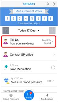 App Screenshot of the Hypertension Plus Home Screen, highlighting the section 'Tell Dr. How you are doing'