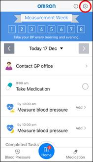 App Screenshot of the Hypertension Plus Home Screen with the settings button highlighted.