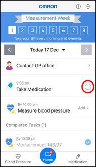 App Screenshot of the Hypertension Plus Home Screen during the measurement week.