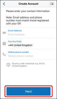 App screenshot of the Hypertension Plus Create Account screen to add email and phone number.