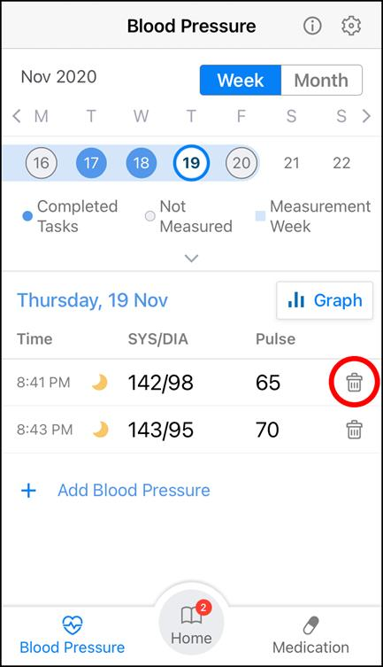 App Screenshot of the 'Blood Pressure' Screen highlighting where is located the trashcan icon.