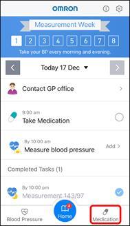 App Screenshot of the Hypertension Plus Home Screen highlighting the 'medication' tab.