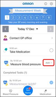 App Screenshot of the Hypertension Plus Home Screen highlighting where to tap to add a blood pressure measure.