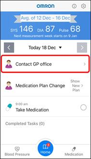 App Screenshot of the Hypertension Plus Home Screen. 'Contact GP office' is highlighted in the Tasks section.