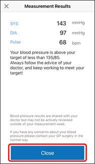 App Screenshot of the Hypertension Plus 'Measurement Results' Screen.
