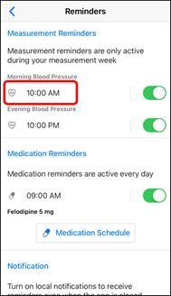 App Screenshot of the Reminders screen.